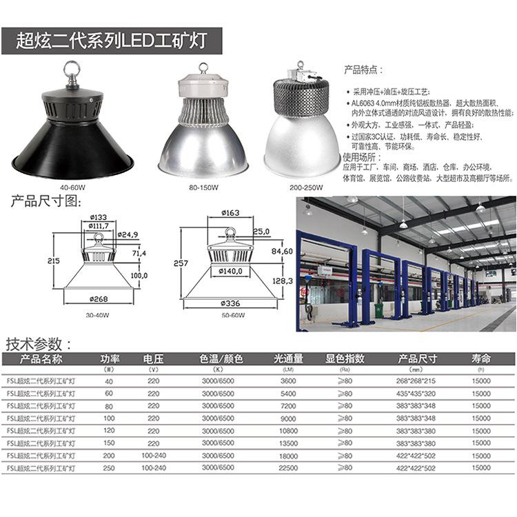 佛山照明LED工矿灯 80W/100W/120W/150W/200W/250W 超炫二代 FSL示例图5