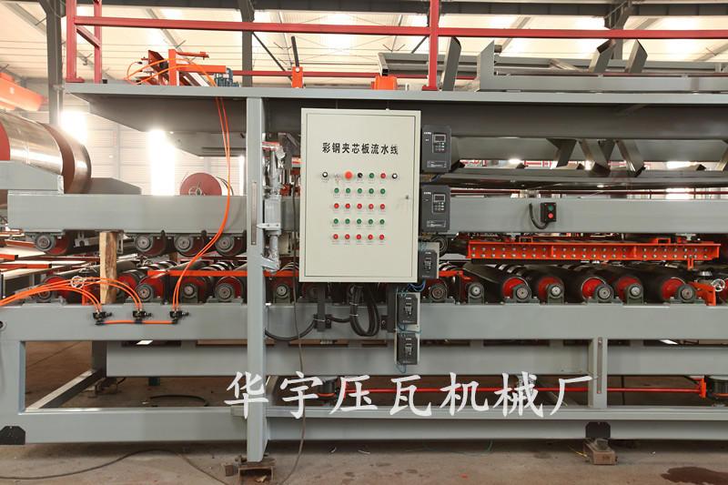 华宇全自动复合板机 岩棉夹心板生产设备 180mm胶轴岩棉机 彩钢复合板生产线示例图9