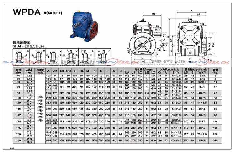 厂家特价 铸铁 蜗轮蜗杆法兰型WPDA/S/O/X减速机 批发 速比10-60示例图10