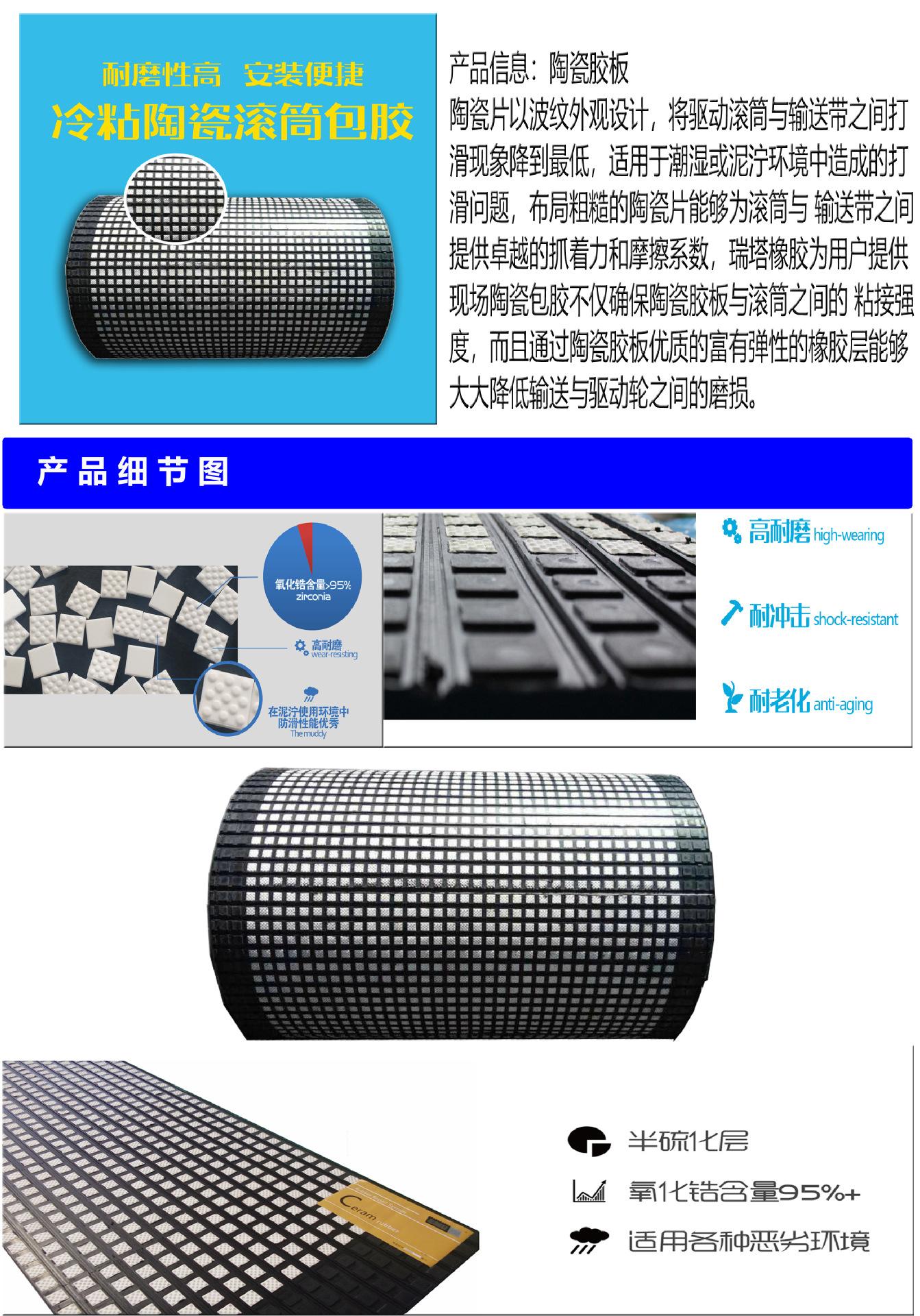 滚筒包胶胶板 陶瓷橡胶板生产厂家示例图2