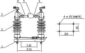 四川35KV户外柱上高压隔离开关GW4-40.5示例图2