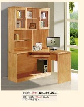 厂家直销  实木电脑桌- 书架 转角电脑桌 组合小户型桌子  809W#