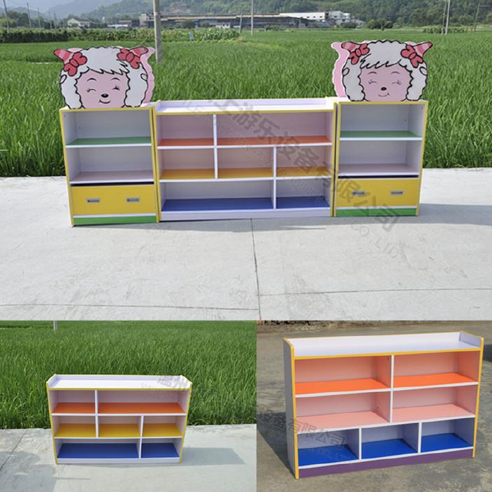 幼儿园书柜 儿童书柜防火板彩色储物柜 实木书架组合 儿童书包柜