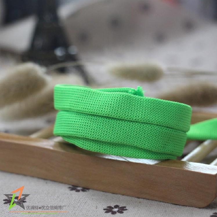 2cm绿色涤纶针通绳 空芯针钩扁绳 服装辅料衣帽绳箱包手提绳图片
