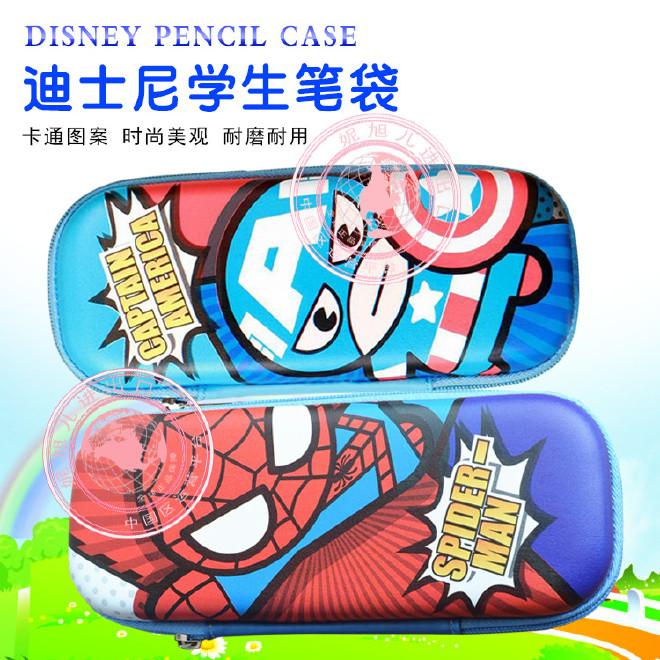 批发迪士尼45047新款联众正品笔袋小学生男孩美国队长防压文具盒