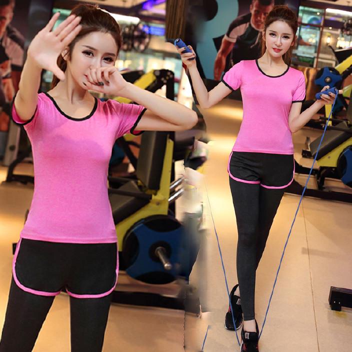 新款瑜伽服套装女夏弹力修身短袖跑步运动假两件长裤健身衣套装女