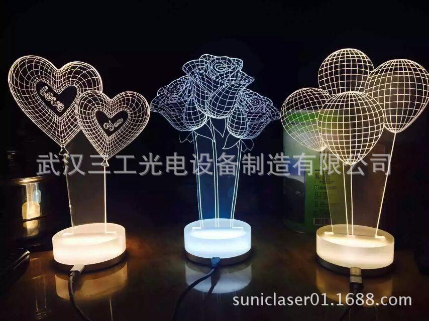 3D小夜灯激光雕刻机,激光雕刻切割亚克力小夜灯图案,立体小夜灯示例图3