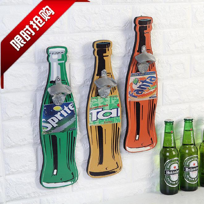 创意开瓶器美式复古木质挂件酒吧家居墙面壁饰壁挂批发墙面装饰品图片