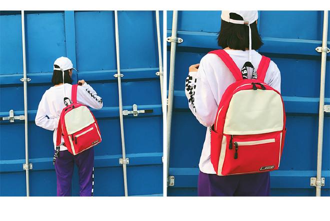 港风街拍撞色帆布双肩包韩国ulzzang校园原宿
