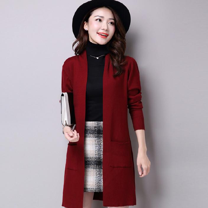 2016秋装新款韩版女外套修身大码针织衫中长款毛衣开衫女装