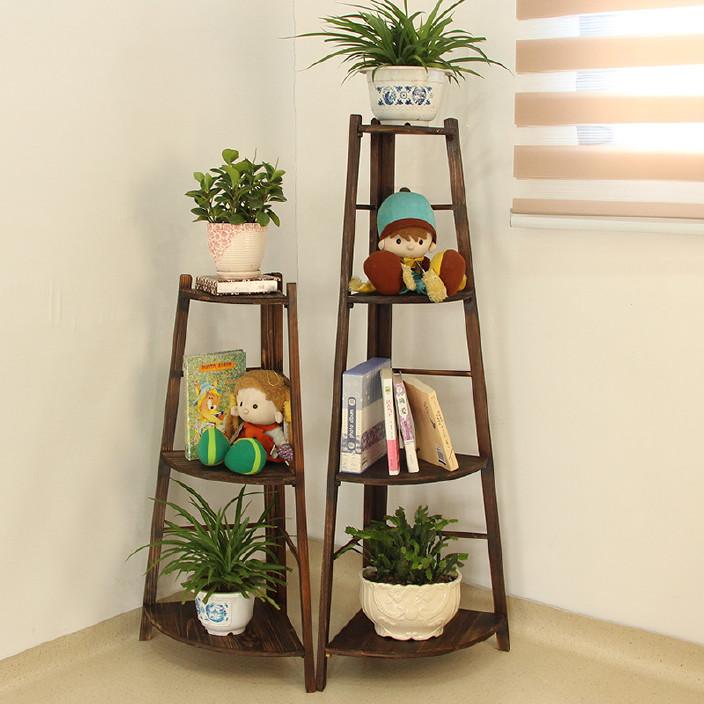 多层盆景架阳台 室内落地客厅花盆架子 碳化实木花架多肉植物架图片