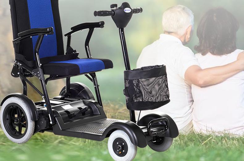 包邮上海互邦电动轮椅HBLD4-E轻便可折叠老年残疾人代步车家用示例图22