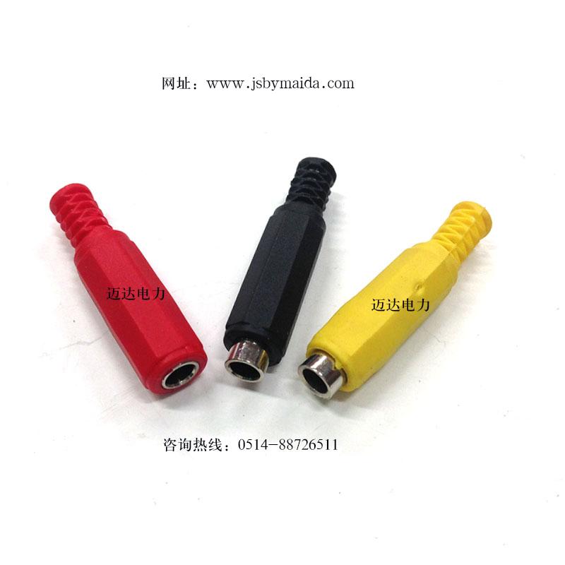 接线插头大电流纯铜香蕉插座电源头4mm一体护套焊接式插头座示例图2