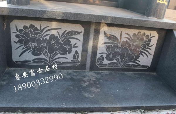 富士石材墓碑厂家供应FS-091芝麻黑墓碑石材,双层瓦盖型豪华传统墓碑示例图6