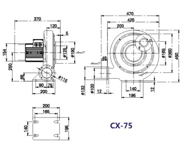 CX-75风机,CX-75H隔热风机,<strong><strong><strong>燃烧器专用风机</strong></strong></strong>示例图3