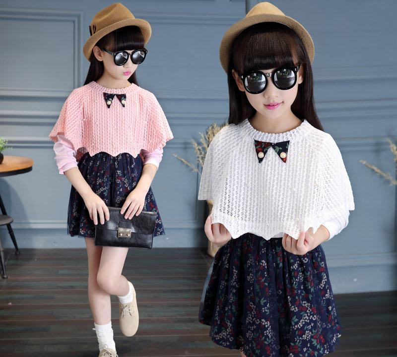 2017新品女童春秋裙套装儿童韩版两件套女童毛衣披肩套装一件代发图片