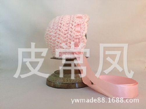 新款韩版宝宝手工编织毛线帽子 丝带系带婴儿
