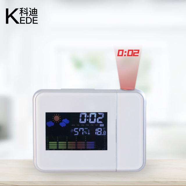 創意時尚時鐘電子鬧鐘LED氣象天氣預報投影鐘 貪睡鬧鐘8190