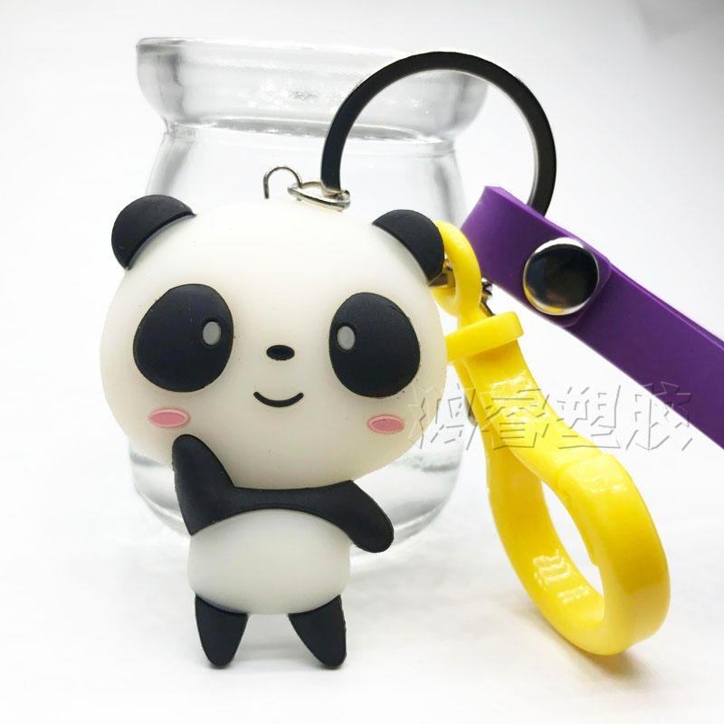 可爱熊猫立体钥匙扣定制 橡胶卡通ip公仔挂件定制 办公桌摆件定制 鸿睿图片