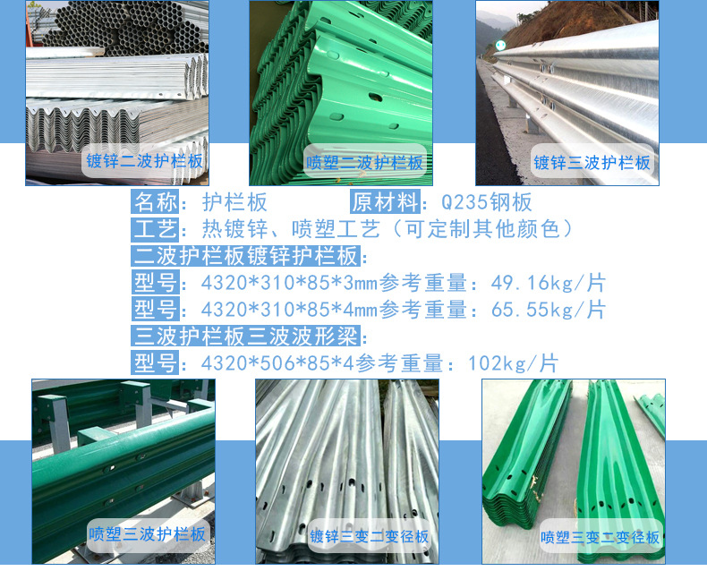 恒信生产厂家  护栏板 防腐防生锈道路防撞波形板 公路防护板价格  两波护栏板  W型板示例图20