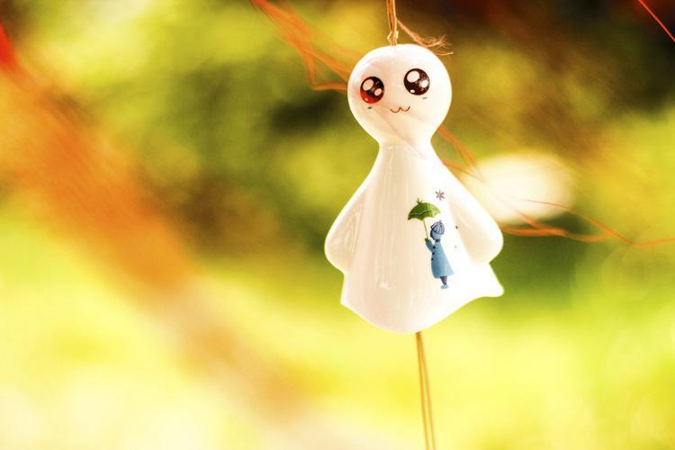 萌物雨伞男女情侣挂饰 可爱挂饰 大号小号尺寸晴天娃娃陶瓷风铃