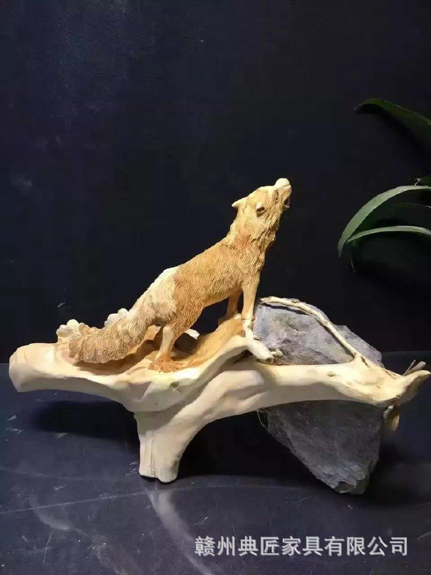 工艺品根雕摆件动物狼虎根雕豹子崖柏v根雕视视频朴英图片