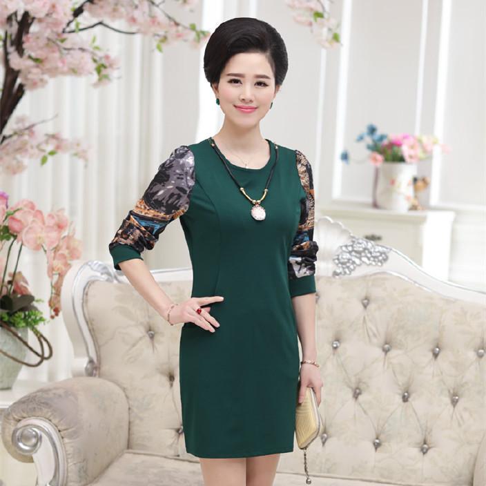 中老年女装春装新款修身显瘦韩版中长款连衣裙 中年女士春秋裙子图片