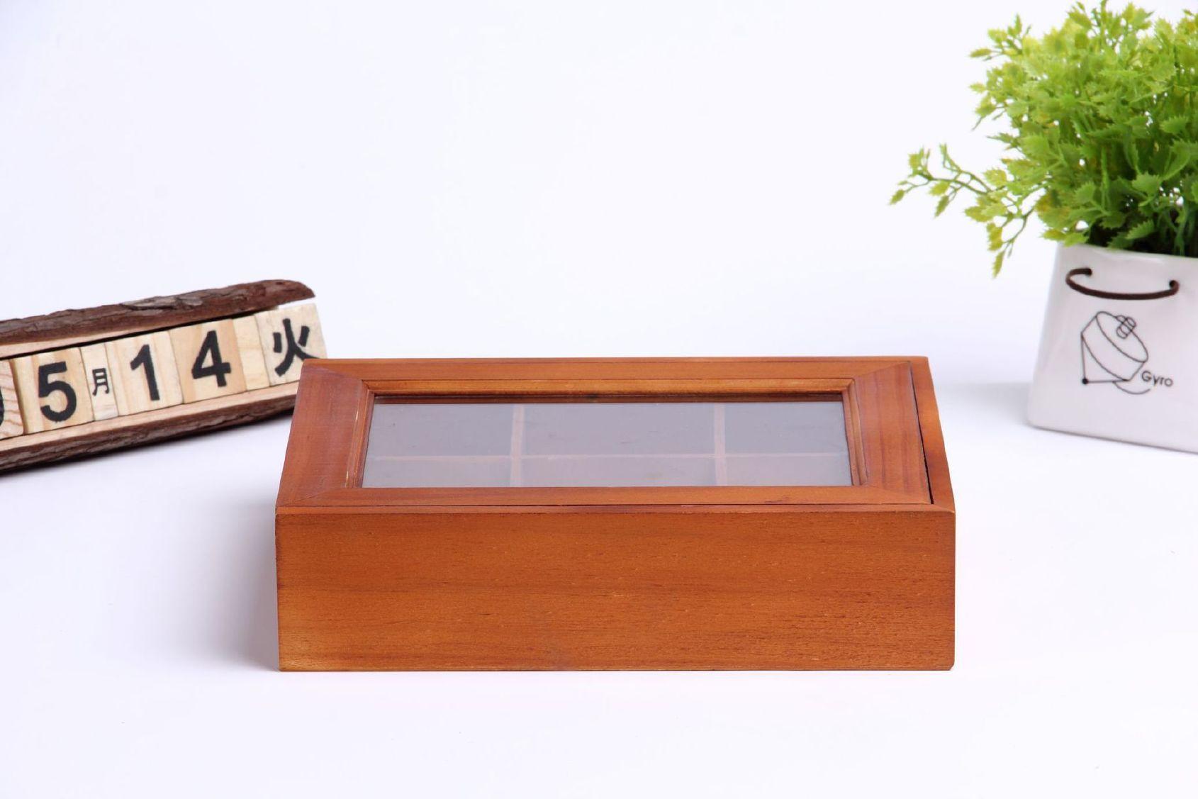 木质玻璃盖分格饰品盒 精美收纳盒饰品首饰桌面收纳木盒