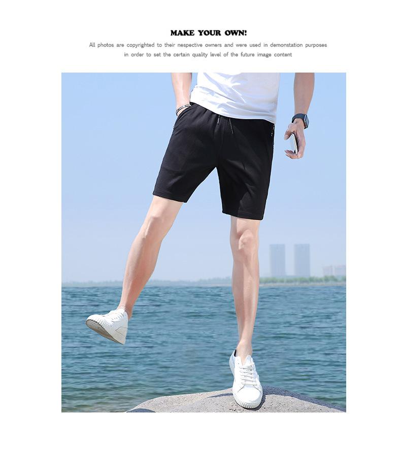 夏季男士短裤 中国风运动速干弹力沙滩裤 透气修身五分裤示例图10