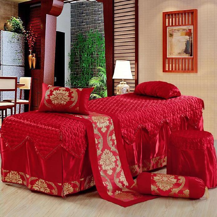 高档 美容床罩四件套七件套 大红色按摩床罩熏蒸床 通用款可订做示例图4