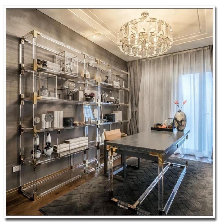 现代亚克力书架有机玻璃层架金属书架奢华样板摆设架主播摆设架