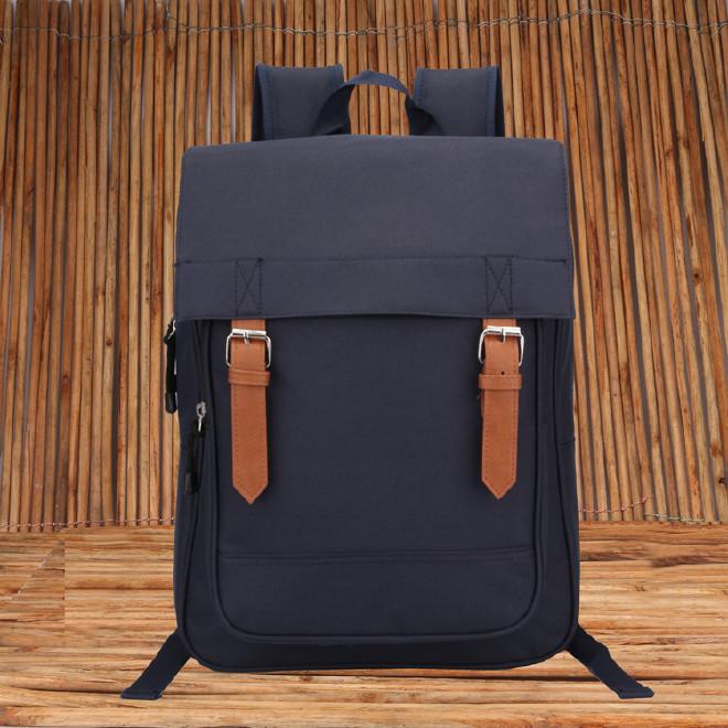 2016新款时尚韩版学院风带盖双肩学生书包 纯色休闲旅游包批发示例图38