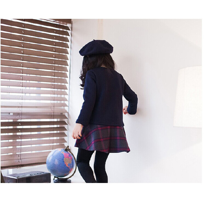 2016童装新款长袖连衣裙 韩版中大童纯棉格子连衣裙亲子春秋裙图片
