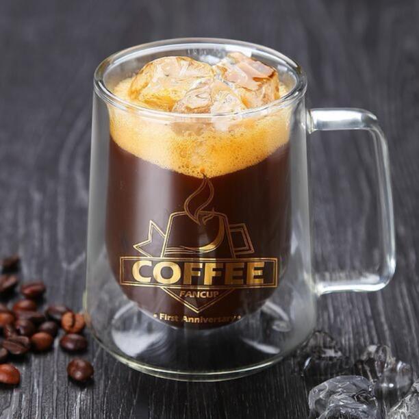 创意耐热带把玻璃杯 高硼硅双层防烫咖啡杯 马克杯方克杯茶杯水杯情侣杯