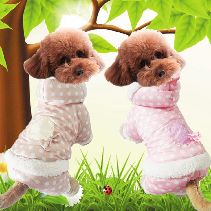 欧美风狗狗衣服 名媛淑女波点泡泡羽绒棉服  保暖宠物服装 狗仔衫图片