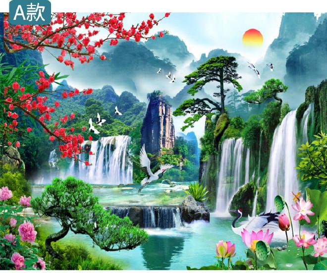 中式客厅山水风景电视背景墙壁纸迎客松壁画3