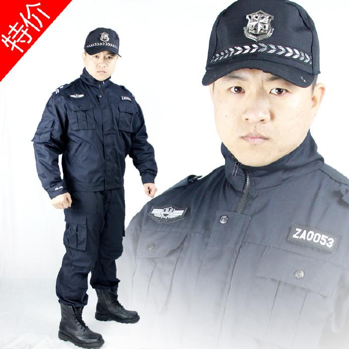 物業保安服酒店賓館執勤服 戶外作訓服藏青色 黑色網格耐磨野戰服