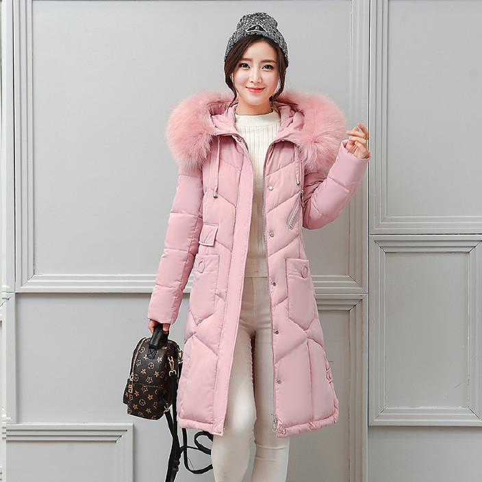2017冬装新款大码女装棉服中长款连帽羽绒棉服修身显瘦加厚棉衣女图片