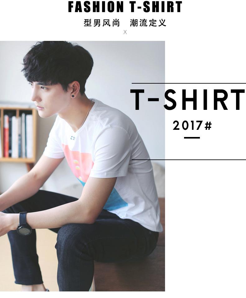 2017新款夏季男士�短袖t恤男式�棉日系男�b�A�I↑�n版休�e�S家直�N示ω 例�D9