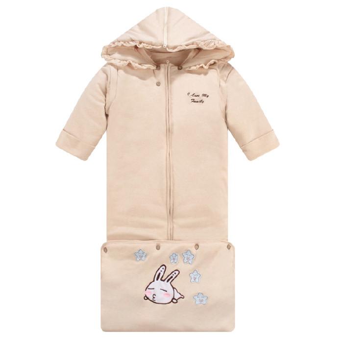 婴儿睡袋 冬款加厚有机彩棉睡袋 不分腿加长防踢被课拆洗加厚睡袋