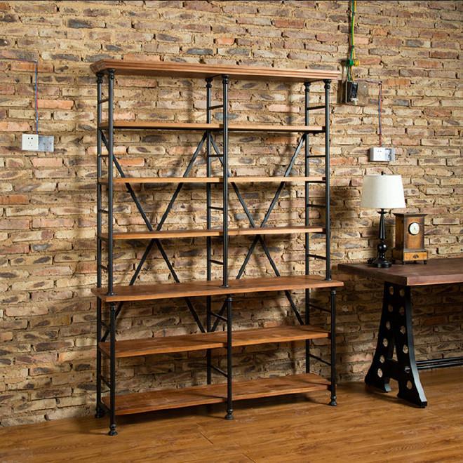 LOFT美式书柜书架风铁艺家具复古客厅工业置家具官网恒大有限公司图片