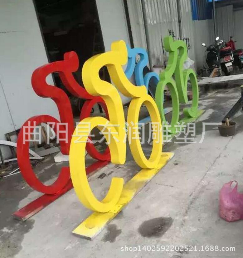 骑自行车雕塑抽象人物不锈钢铁艺剪影体育运动学校校园金属摆件