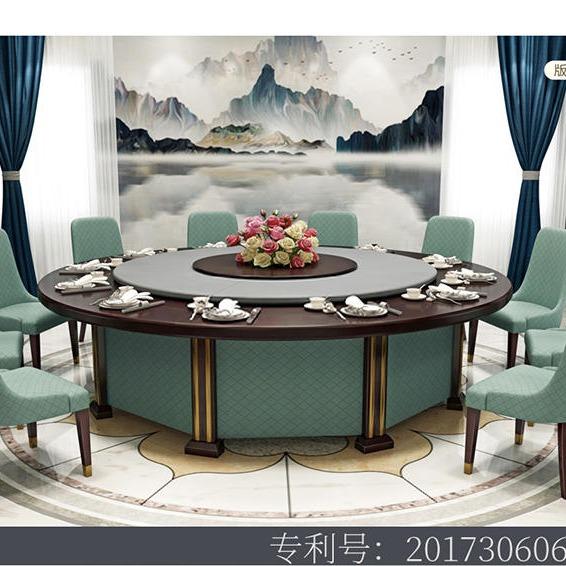 桌越酒店電動餐桌 大圓桌 現代中式大理石電動餐桌30人 會所餐桌椅組合