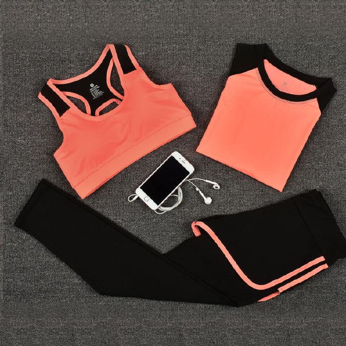 夏季瑜伽服套装新款运动套装女健身衣跑步速干假两件文胸厂家批发
