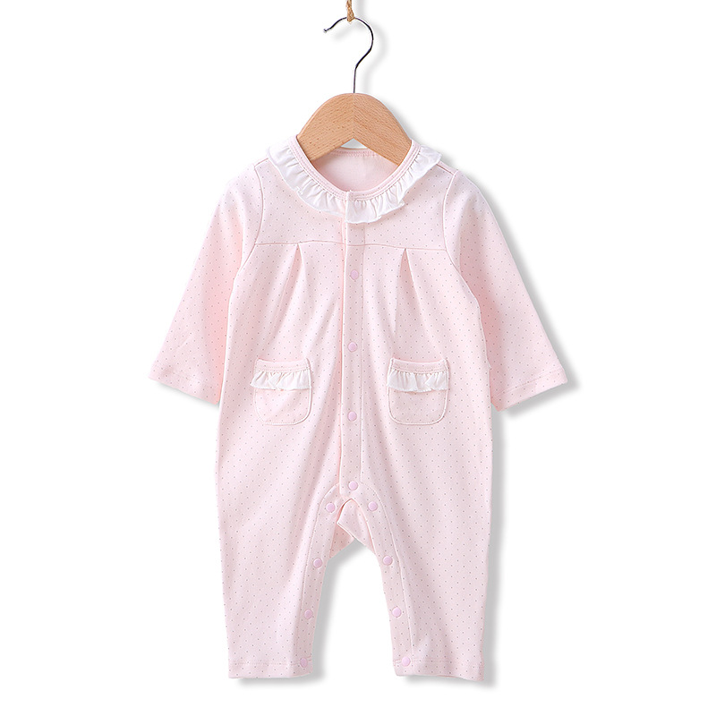 A類一等品高品質秋季新款女寶寶公主哈衣嬰兒連體衣全棉嬰兒衣服