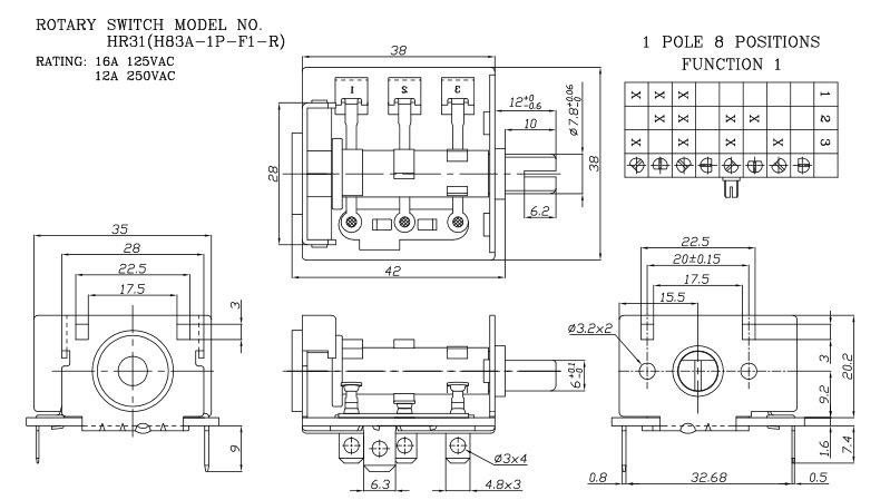 厂家供应8档电暖器旋转开关,电气灶档位调速开关