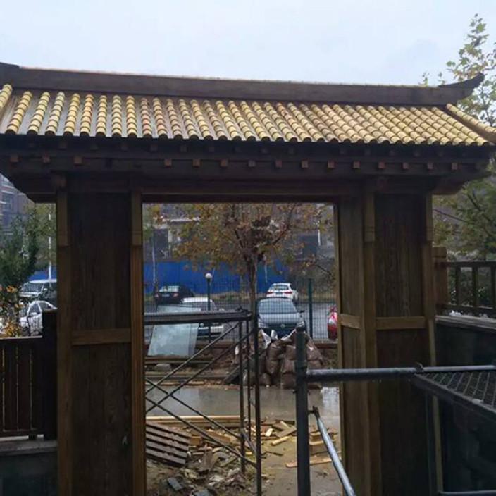 【v工程定做防腐木工程庭院木质别墅成品大门凯里别墅多少最低价图片