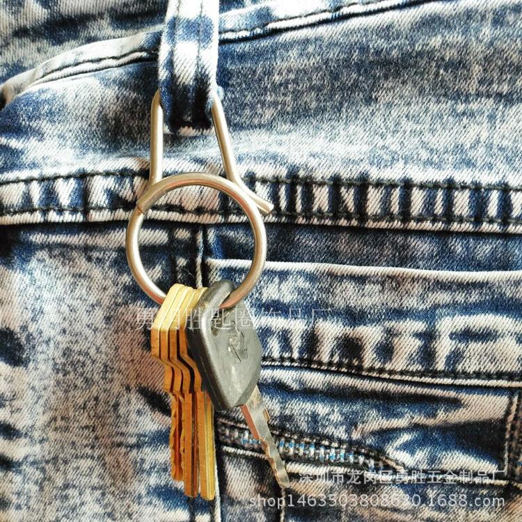 一体快拆式钥匙扣 创意钛合金匙圈挂件 原创设计男女钥匙环示例图4
