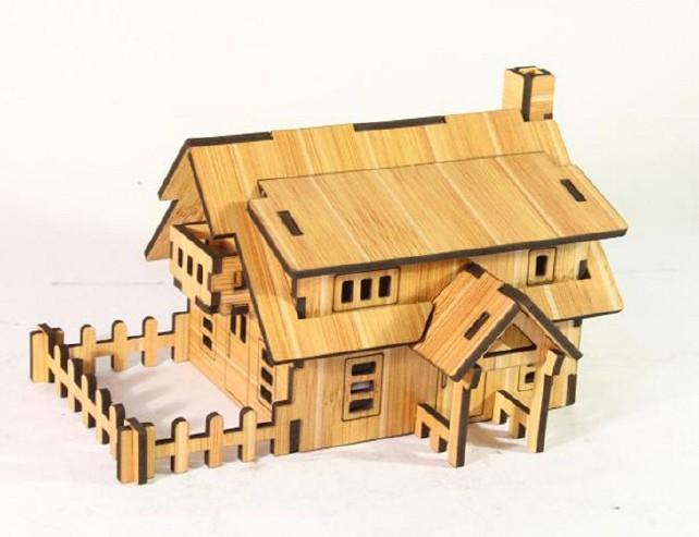 森呼吸西式小屋批发激光切割3D精品智慧拼装模型精致DIY益智玩具示例图4