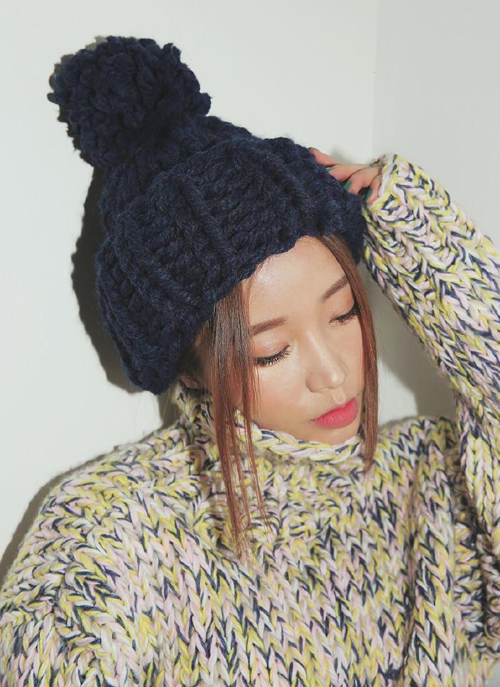 【户外a手工手工视频冬季加厚女士钩粗毛线帽帽子兰多夫